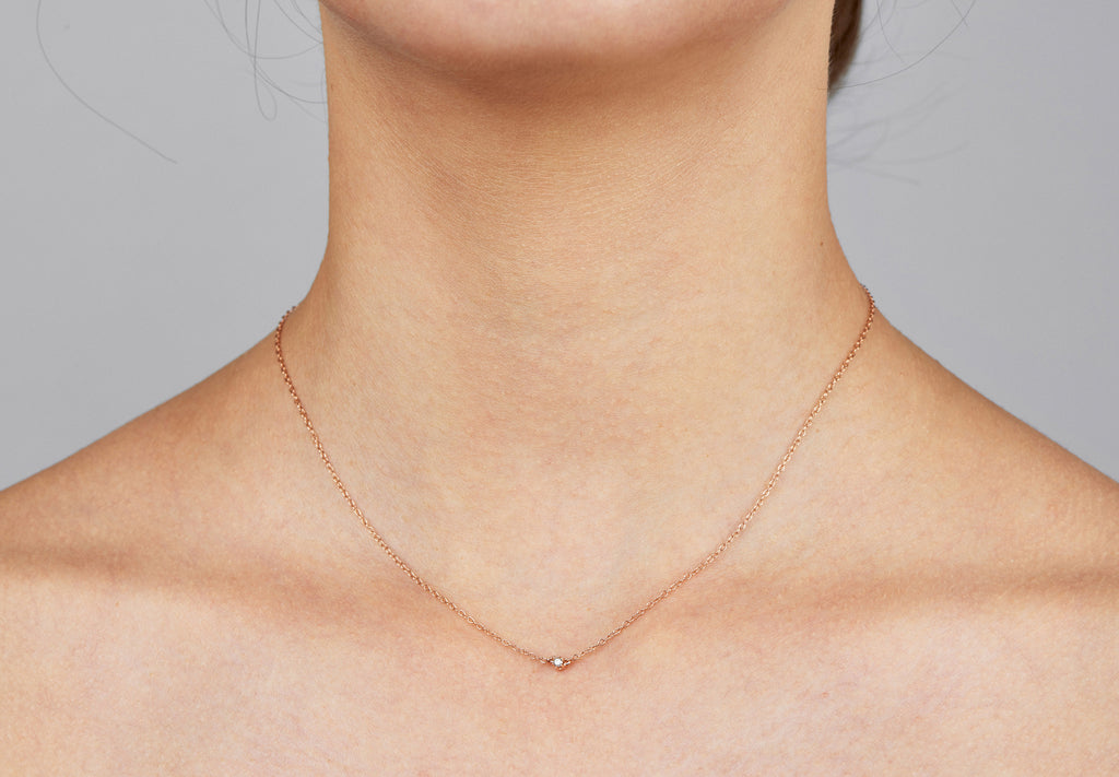 Seis Classic Diamond Necklace // Rose Gold