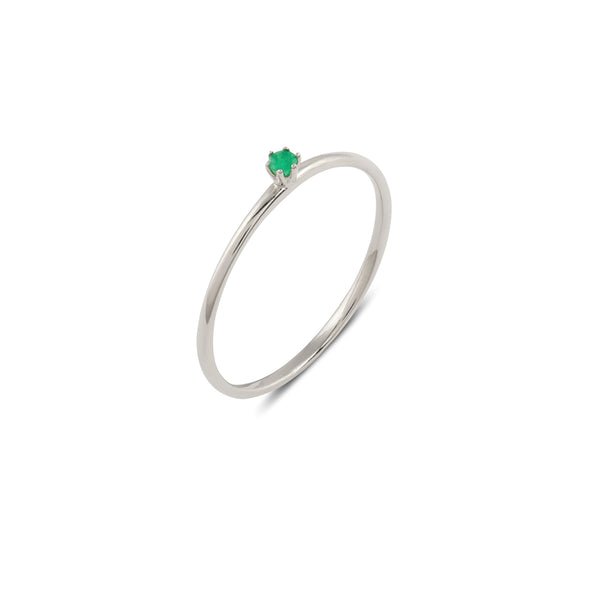 Seis Classic Emerald Ring // White Gold