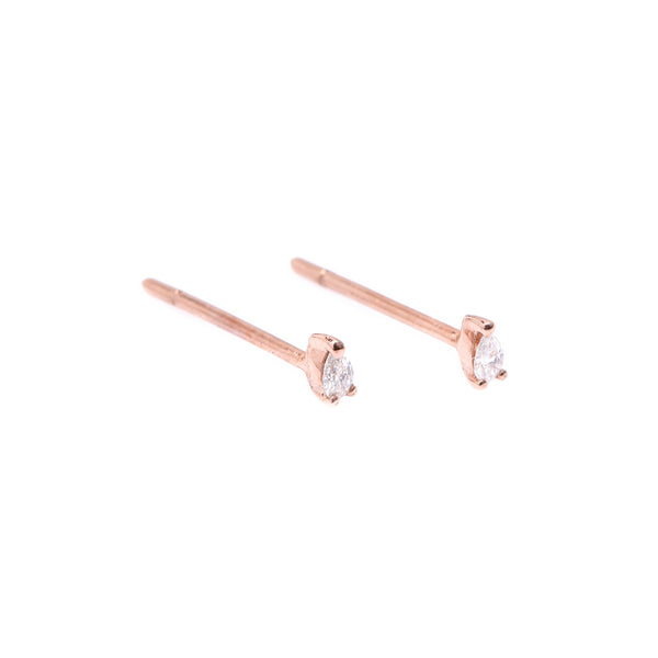 Teardrop Diamond Earrings // Rose Gold