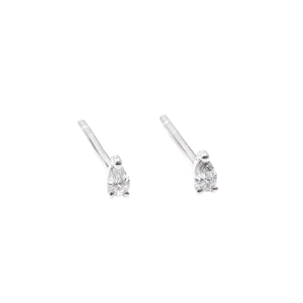 Teardrop Diamond Earrings // White Gold