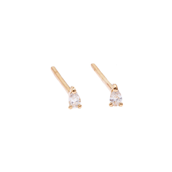 Teardrop Diamond Earrings // Gold