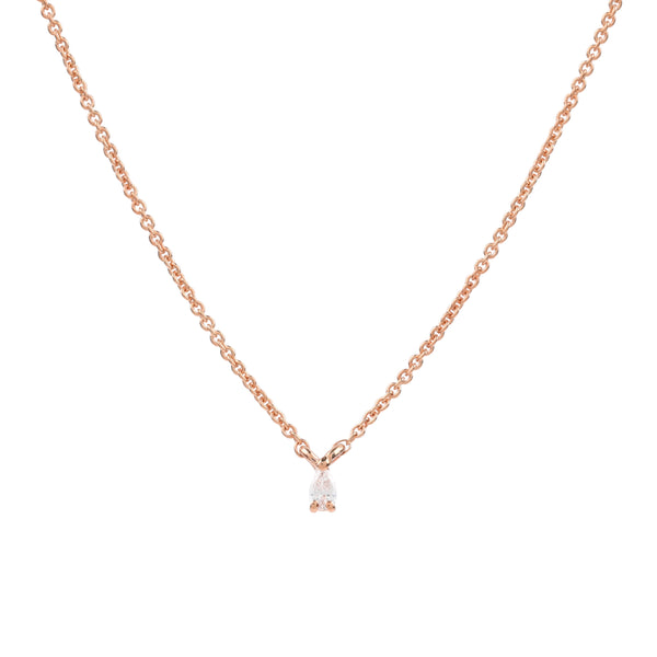 Teardrop Diamond Necklace // Rose Gold