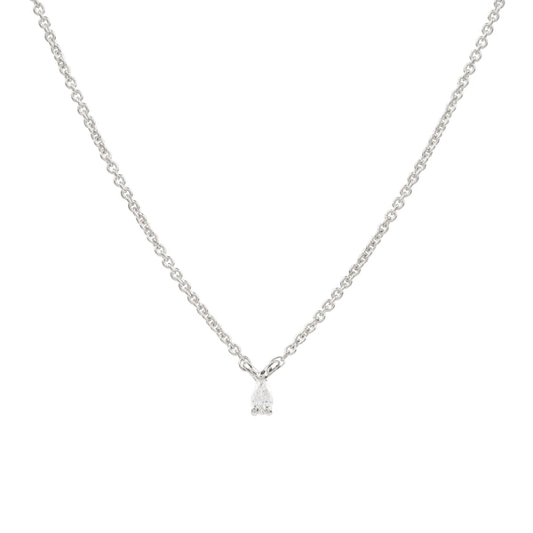 Teardrop Diamond Necklace // White Gold