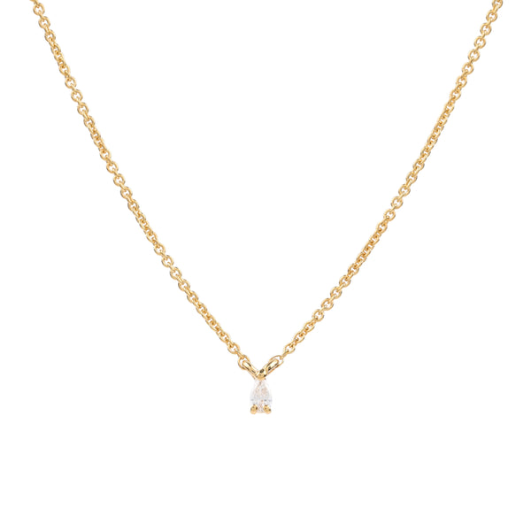 Teardrop Diamond Necklace // Gold