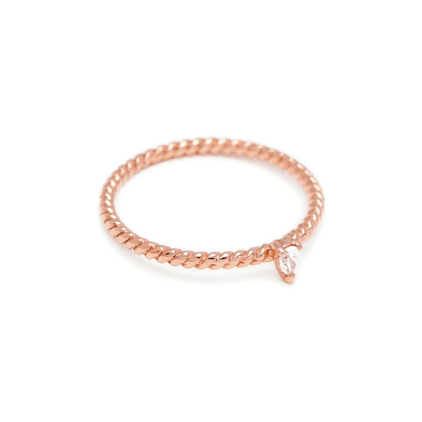 Teardrop Diamond Twist Ring // Rose Gold