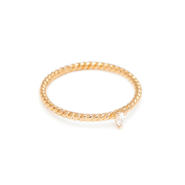 Teardrop Diamond Twist Ring // Gold