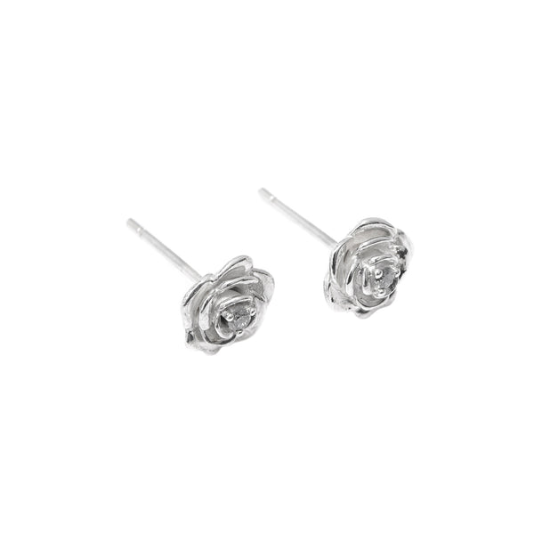 Tea Rose Diamond Earrings // White Gold