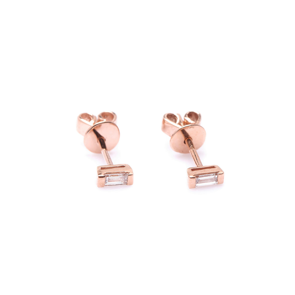 Mod Baguette Diamond Earrings // Rose Gold