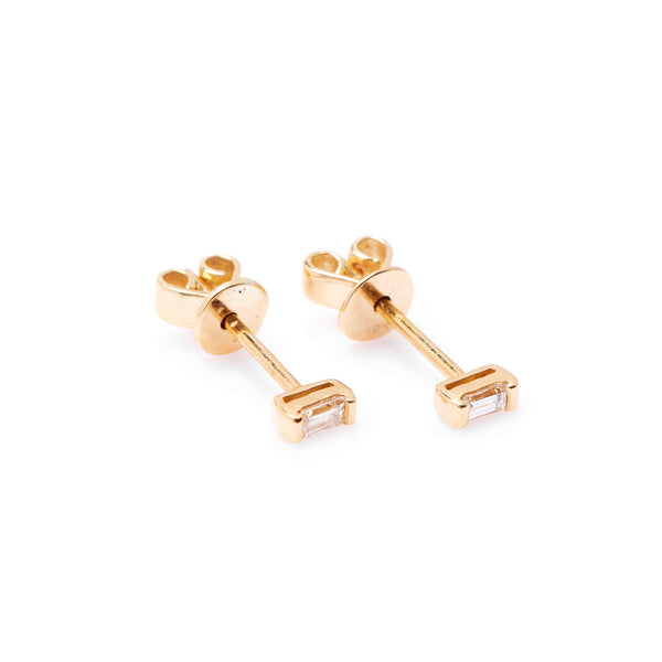Mod Baguette Diamond Earrings // Gold