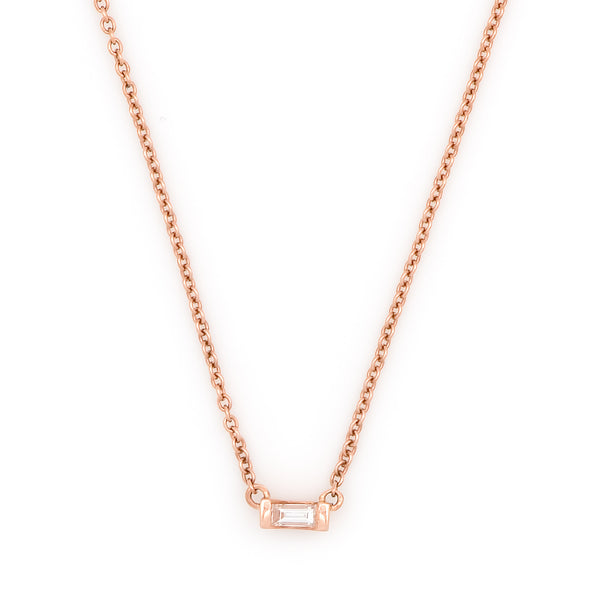 Mod Baguette Diamond Necklace // Rose Gold