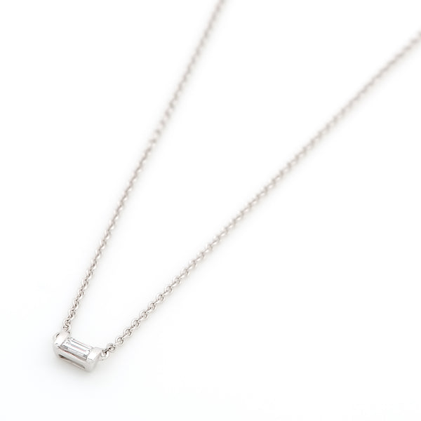 Mod Baguette Diamond Necklace // White Gold