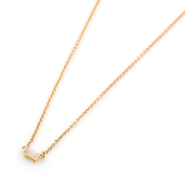 Mod Baguette Diamond Necklace // Gold