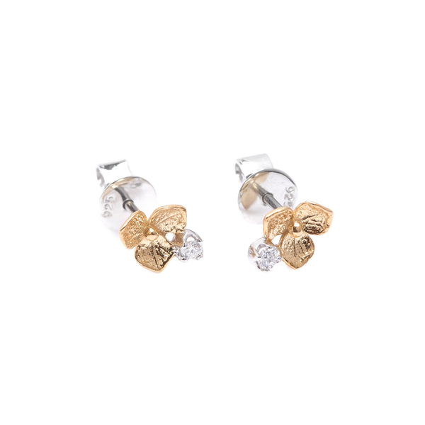 Hydrangea Diamond Earrings // Gold