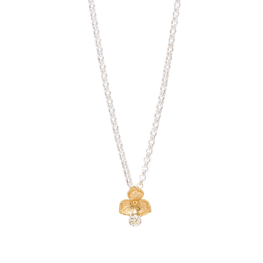 Hydrangea Diamond Necklace // Gold