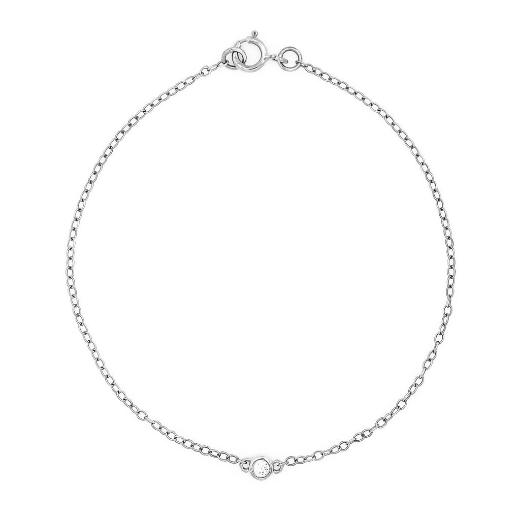 Bead Diamond Bracelet // White Gold