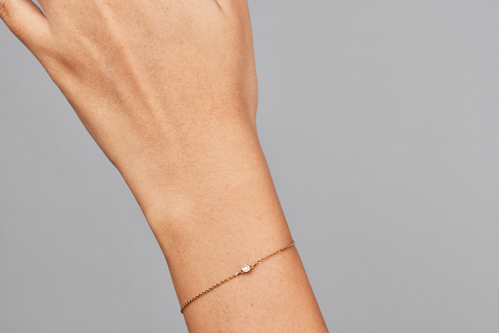 Bead Diamond Bracelet // Gold
