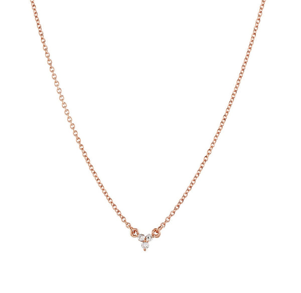 Dew Trio Diamond Necklace // Rose Gold