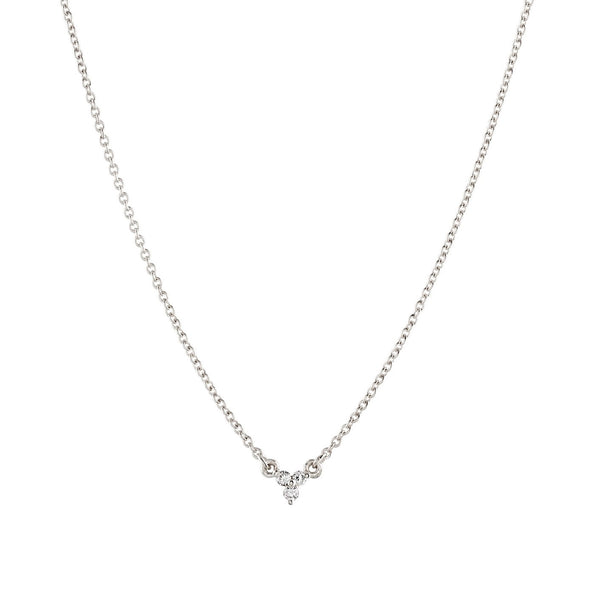 Dew Trio Diamond Necklace // White Gold