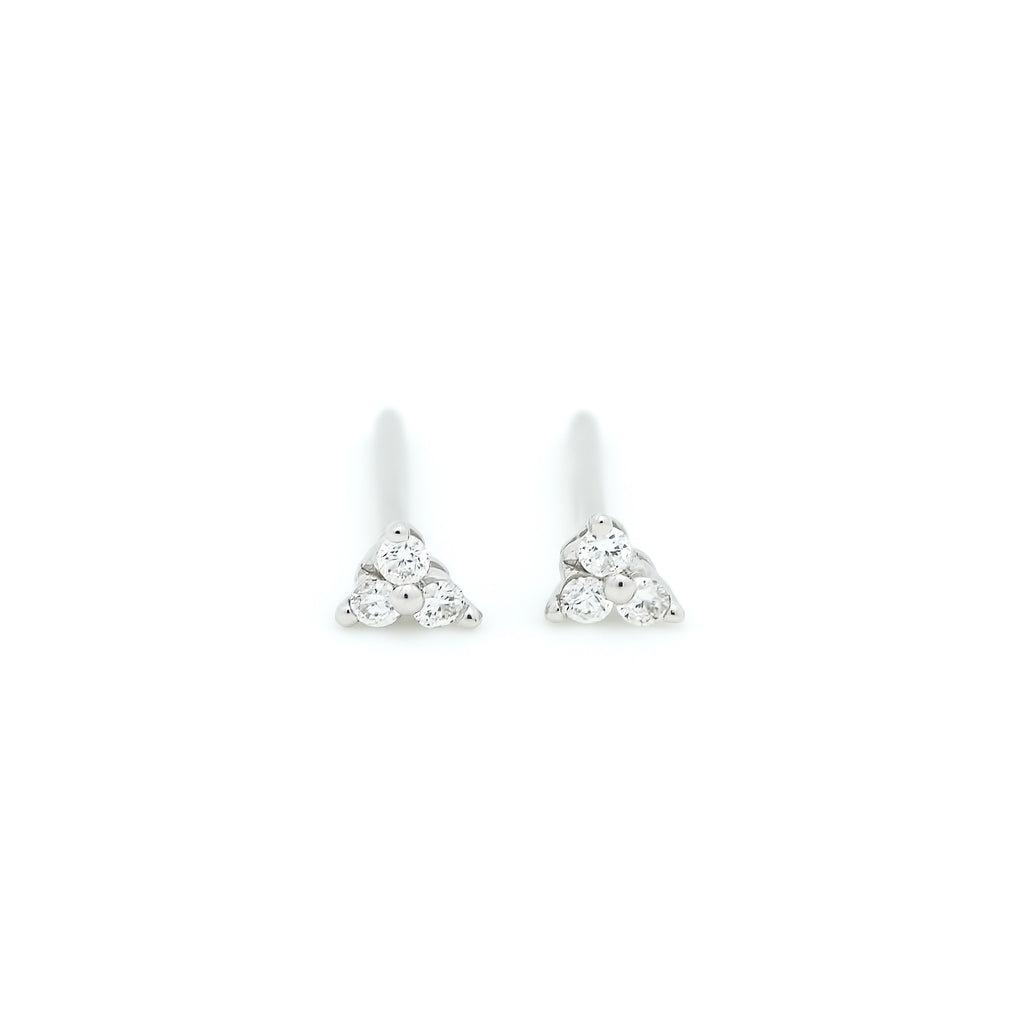 Dew Trio Diamond Earrings // White Gold
