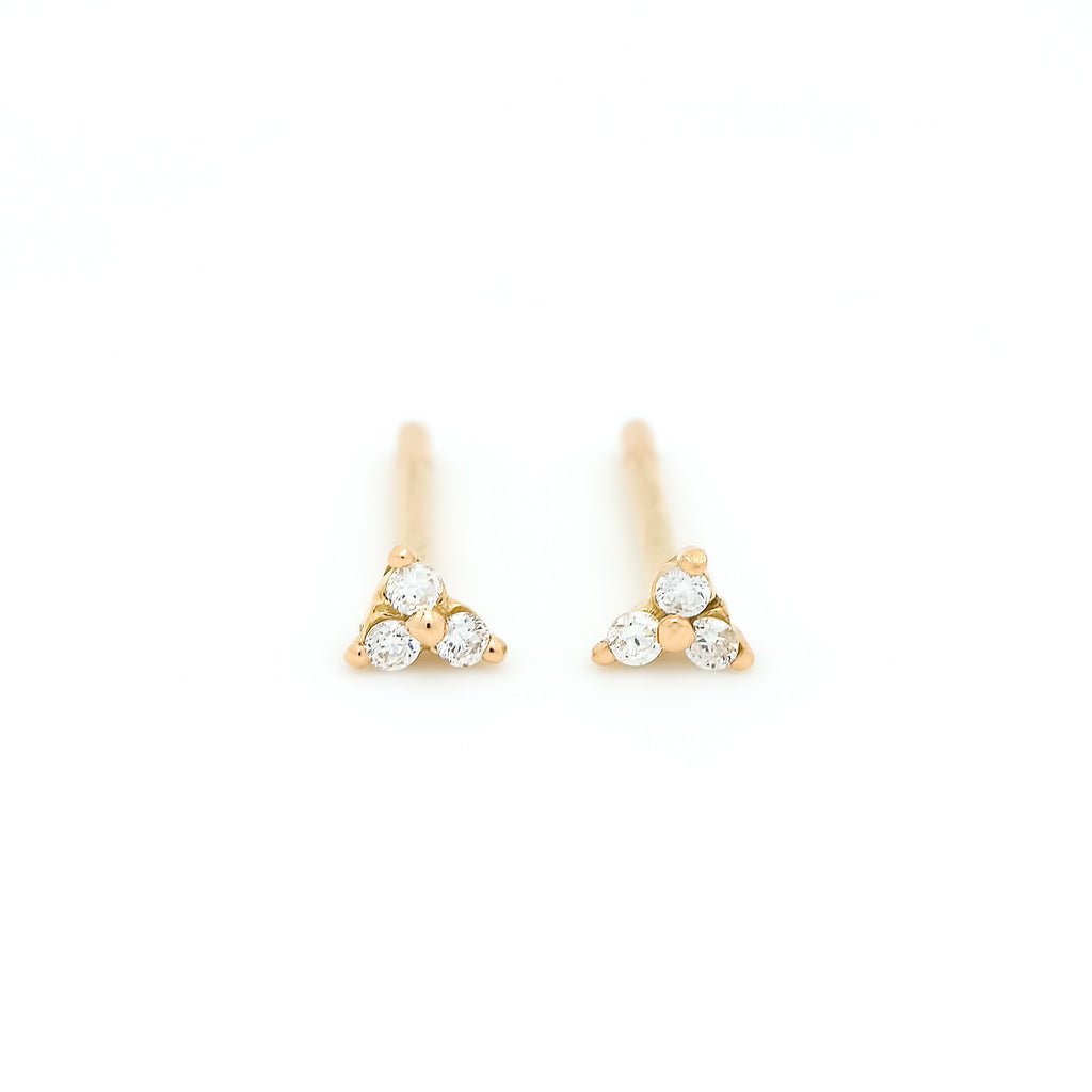 Dew Trio Diamond Earrings // Gold