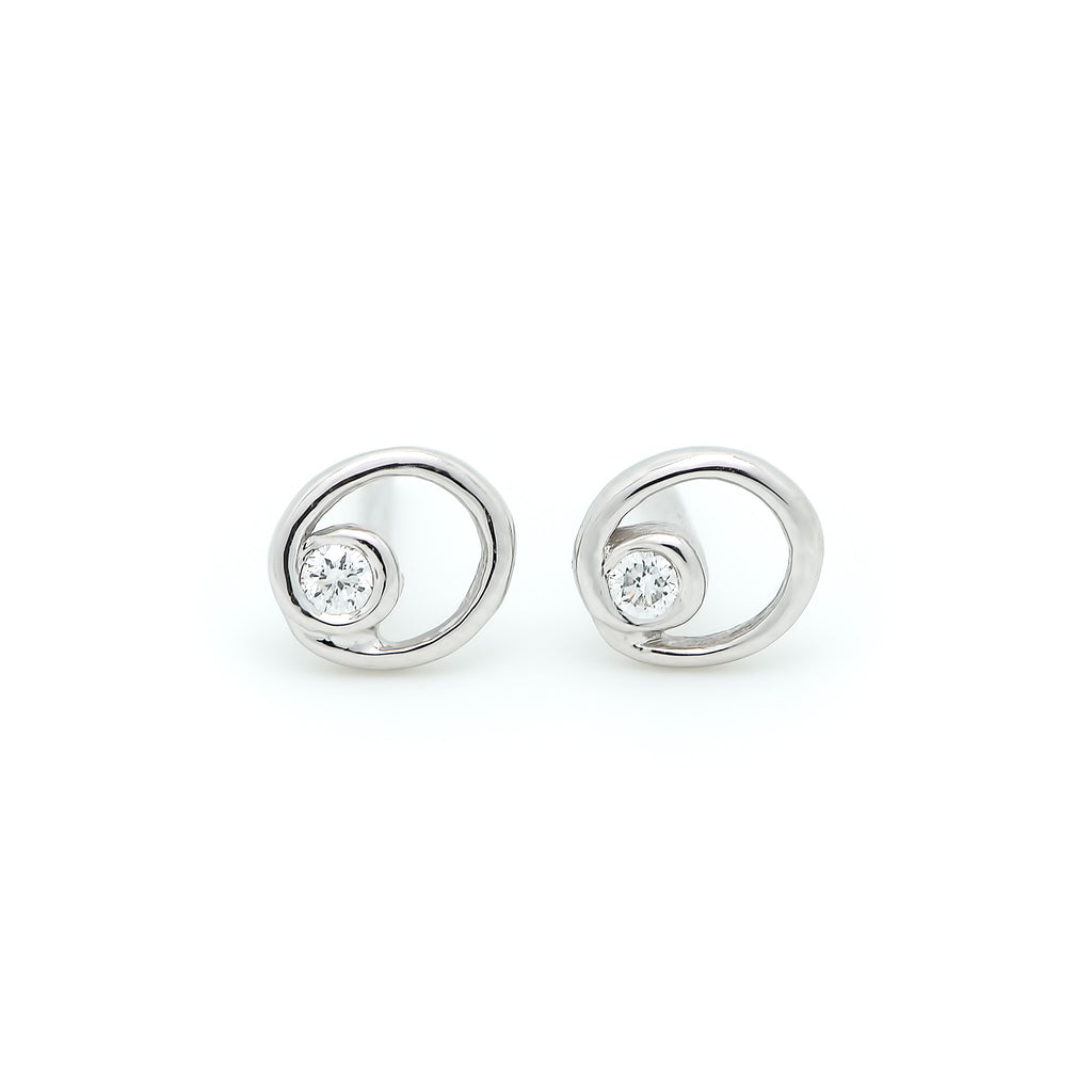 Circle Accent Diamond Earrings // White Gold