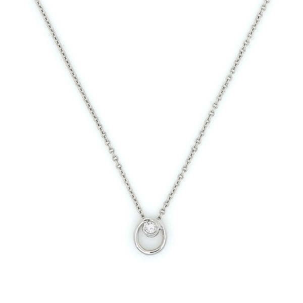Circle Accent Diamond Necklace // White Gold