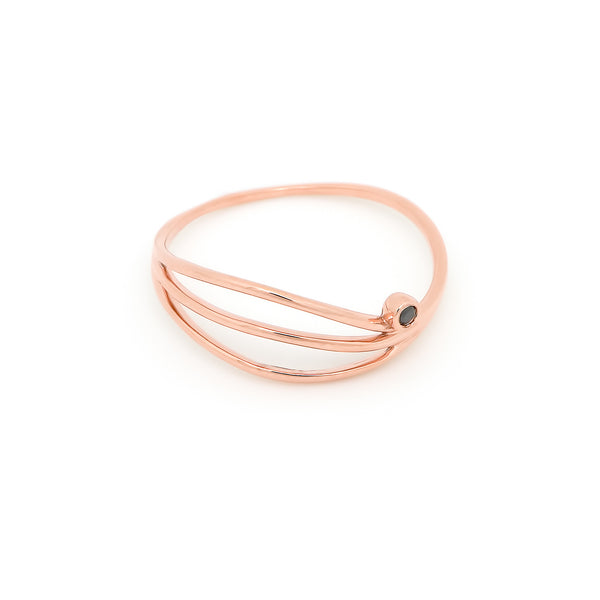Thread Wave Diamond Ring // Rose Gold