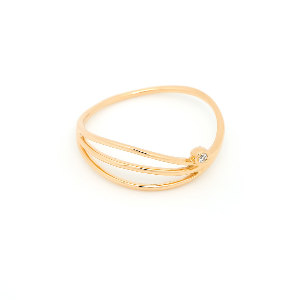 Thread Wave Diamond Ring // Gold