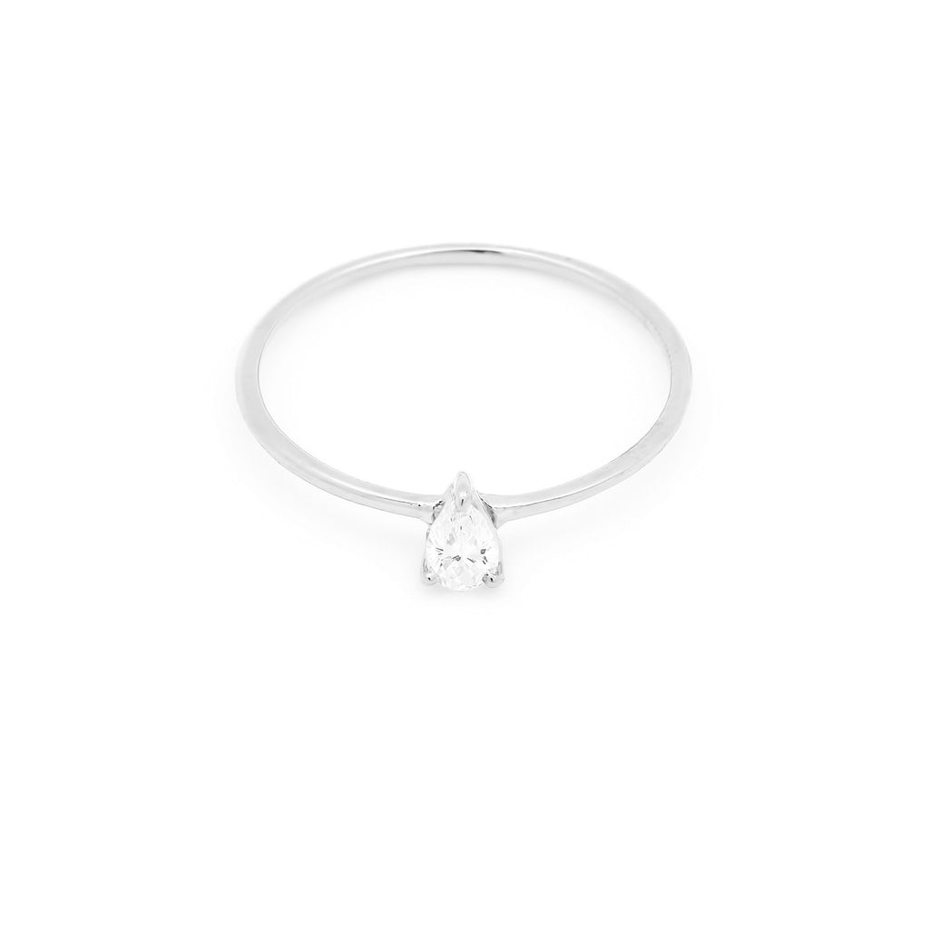 Astrid Pear Diamond Engagement Ring // White Gold - Lucy & Mui