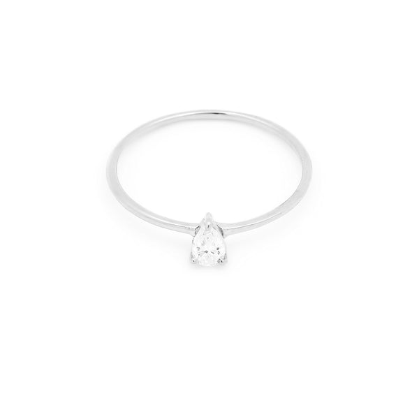 Astrid Pear Diamond Engagement Ring // White Gold