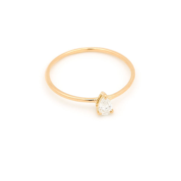 Astrid Pear Diamond Engagement Ring // Gold - Lucy & Mui