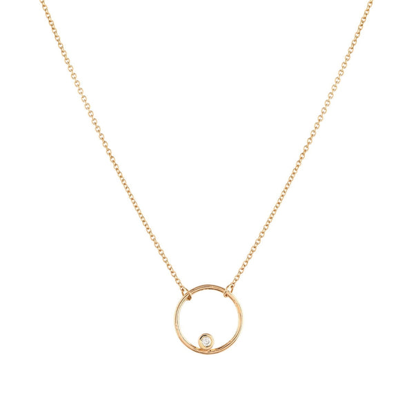 Halo Diamond Necklace // Gold