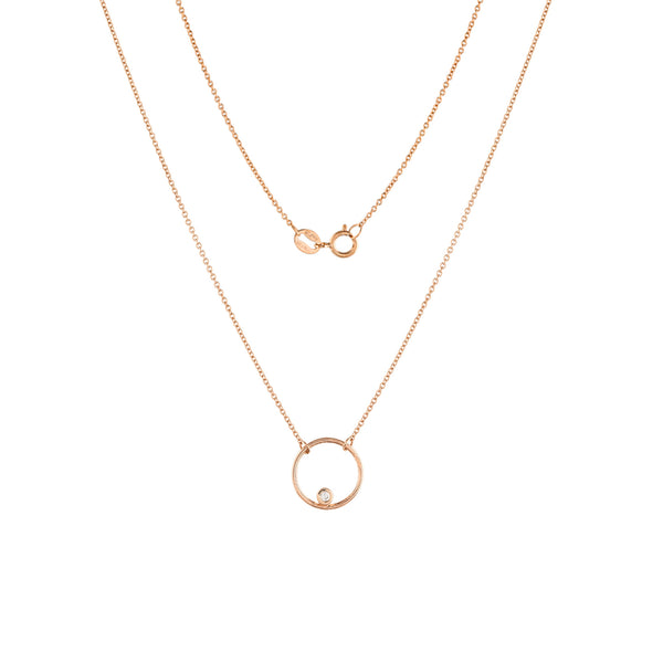 Halo Diamond Necklace // Rose Gold