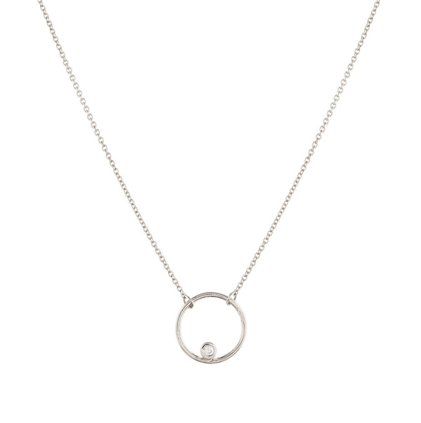 Halo Diamond Necklace // White Gold