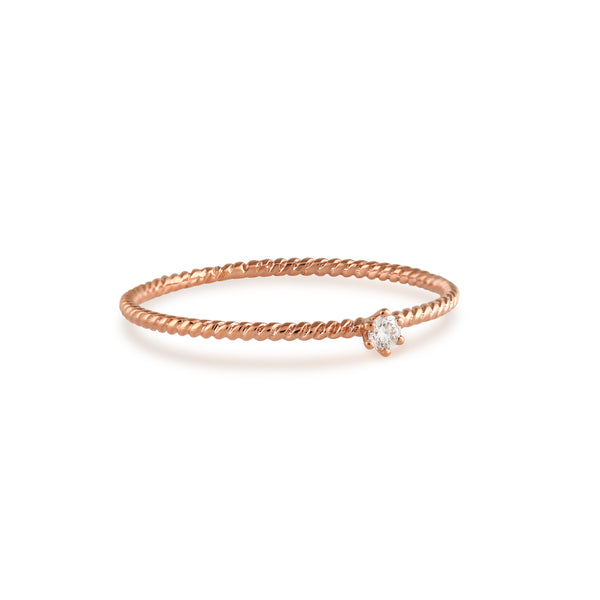 Seis Classic Diamond Twist Ring // Rose Gold