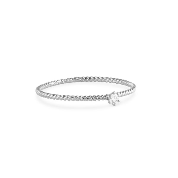 Seis Classic Diamond Twist Ring // White Gold