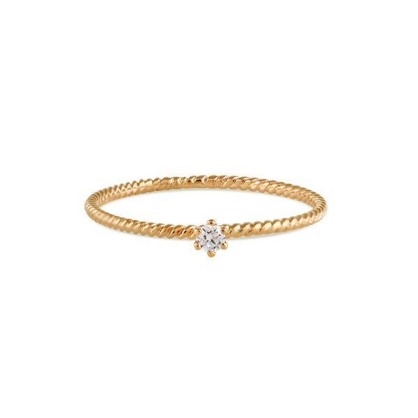 Seis Classic Diamond Twist Ring // Gold