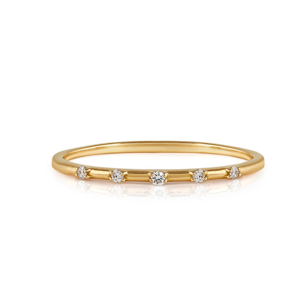 Space Diamond Wedding Band // Gold