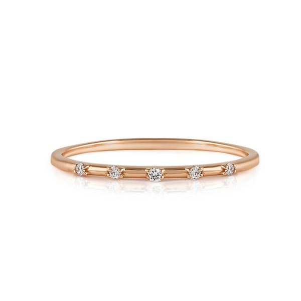 Space Diamond Wedding Band // Rose Gold
