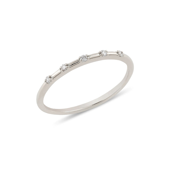 Space Diamond Wedding Band // White Gold