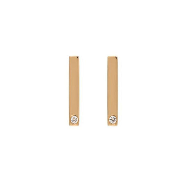 Bar Diamond Earrings // Gold - Lucy & Mui