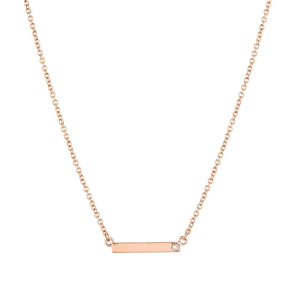 Bar Diamond Necklace // Rose Gold - Lucy & Mui