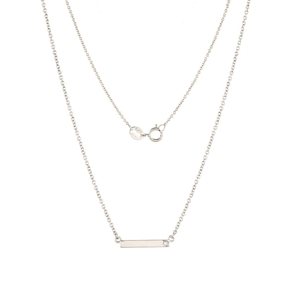 Bar Diamond Necklace // White Gold - Lucy & Mui