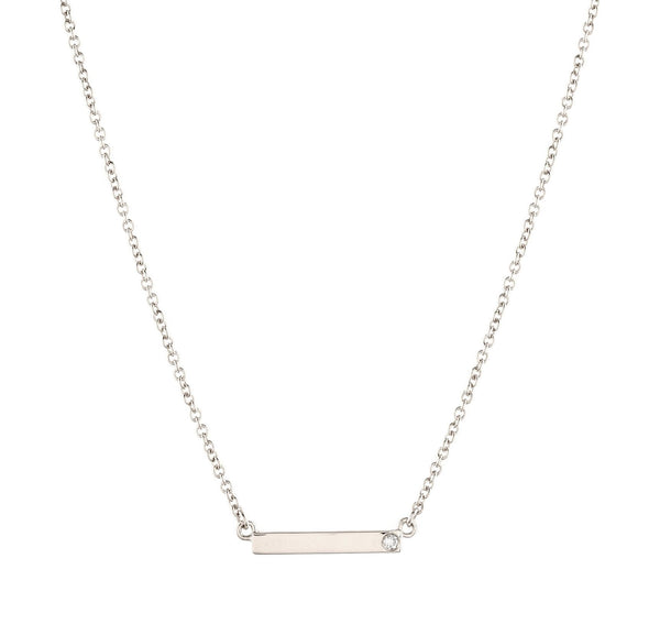 Bar Diamond Necklace // White Gold