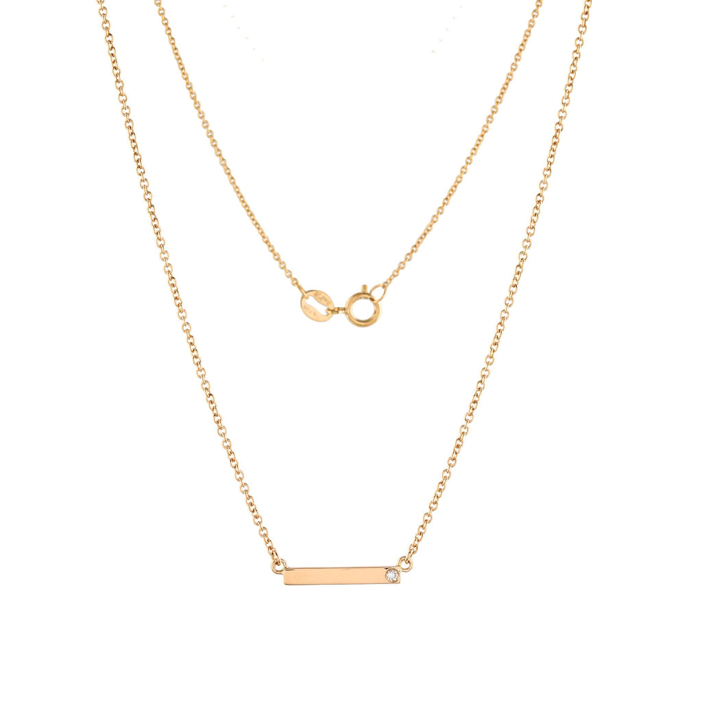 Bar Diamond Necklace // Gold