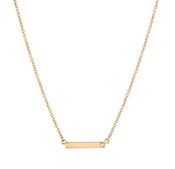 Bar Diamond Necklace // Gold - Lucy & Mui