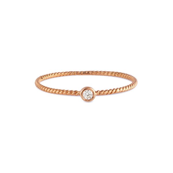 Bead Diamond Twist Ring // Rose Gold