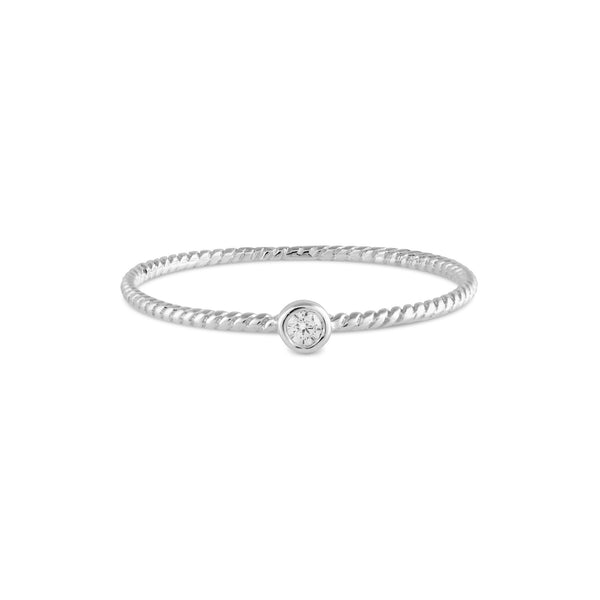 Bead Diamond Twist Ring // White Gold
