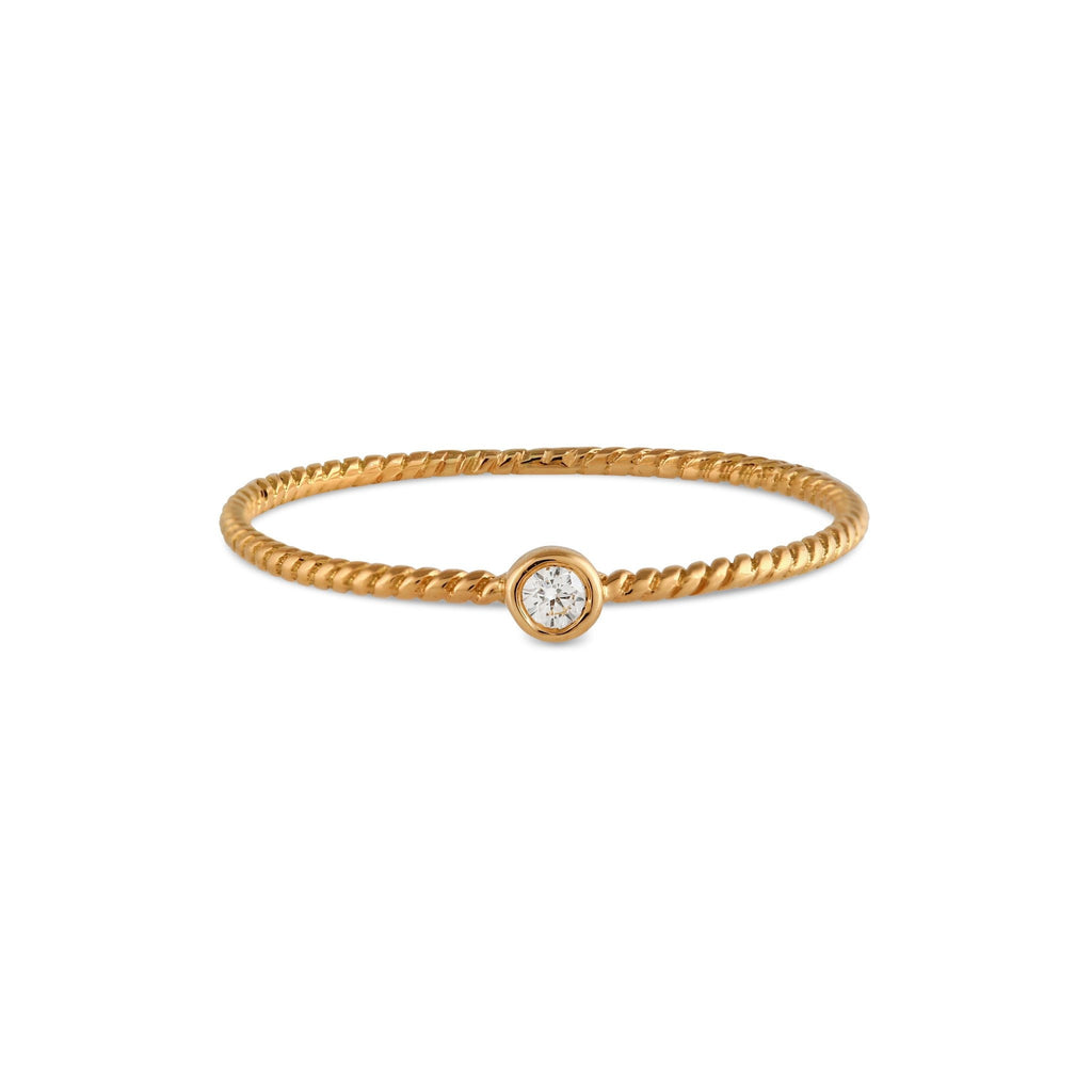Bead Diamond Twist Ring // Gold - Lucy & Mui