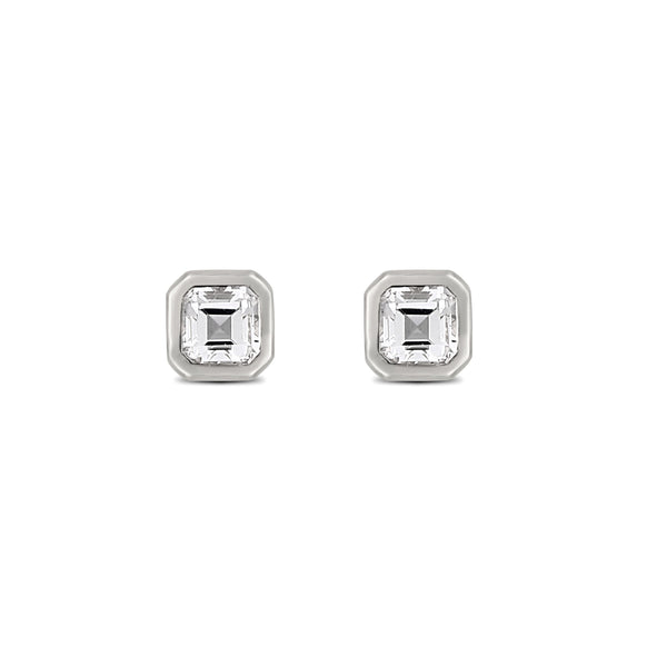 Asscher Topaz Earrings // White Gold